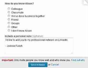 LinkedIn success dependent upon invitation