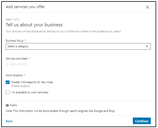 Add services offer on LinkedIn