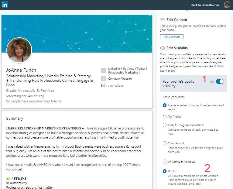LinkedIn Profile Settings