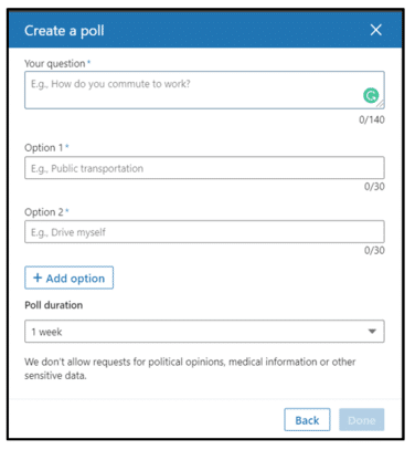 Create Poll in LinkedIn Details